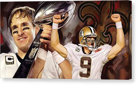 Drew Brees Canvas Print - Drew Brees New Orleans Saints Quarterback Artwork by Sheraz A