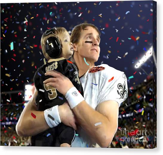 Superbowl Canvas Print - Drew Brees by Paul Tagliamonte
