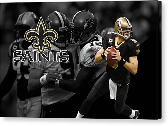 Drew Brees Canvas Print - Drew Brees Saints by Joe Hamilton