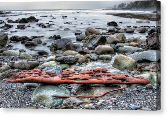 Juan De Fuca Provincial Park Canvas Print - Drift Log by James Wheeler