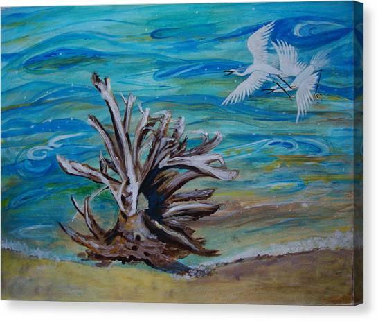 Driftwood On Lake Huron Canvas Print