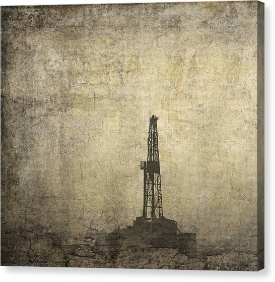 Fracking Canvas Print - Drill Rig In The Distance by Daniel Hagerman