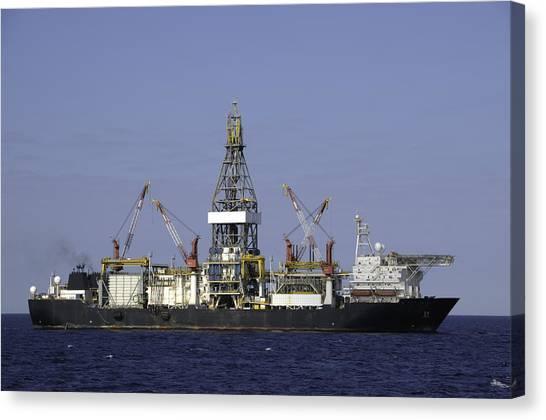 Drill Ship In Blue Ocean Canvas Print