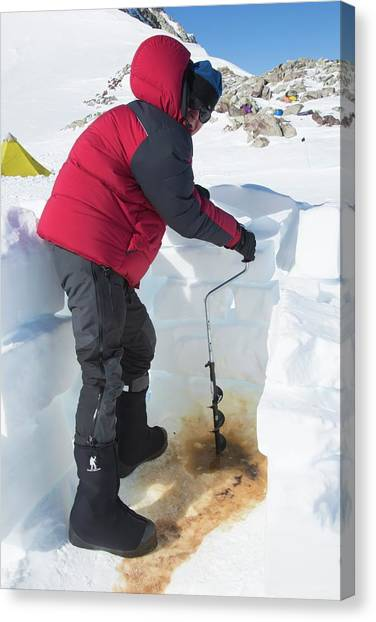Antarctica Canvas Print - Drilling A New Toilet Hole by Peter J. Raymond