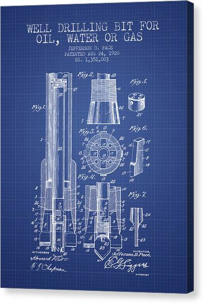 Oil Rigs Canvas Print - Drilling Bit For Oil Water Gas Patent From 1920 - Blueprint by Aged Pixel
