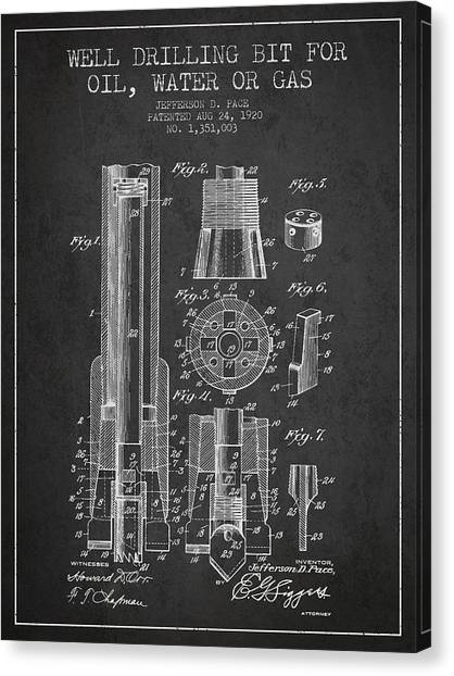 Oil Rigs Canvas Print - Drilling Bit For Oil Water Gas Patent From 1920 - Dark by Aged Pixel