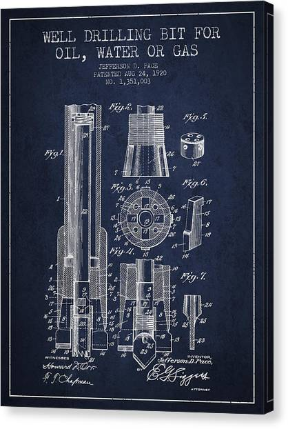 Oil Rigs Canvas Print - Drilling Bit For Oil Water Gas Patent From 1920 - Navy Blue by Aged Pixel