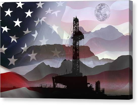 Fracking Canvas Print - Drilling For America by Daniel Hagerman