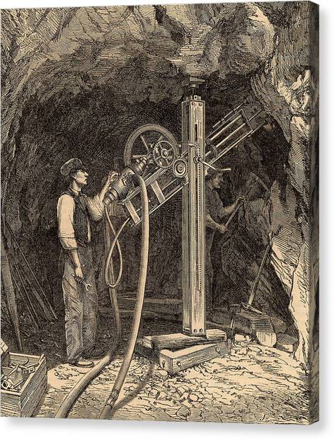 Drilling Machine With Diamond Bit Canvas Print by Universal History Archive/uig