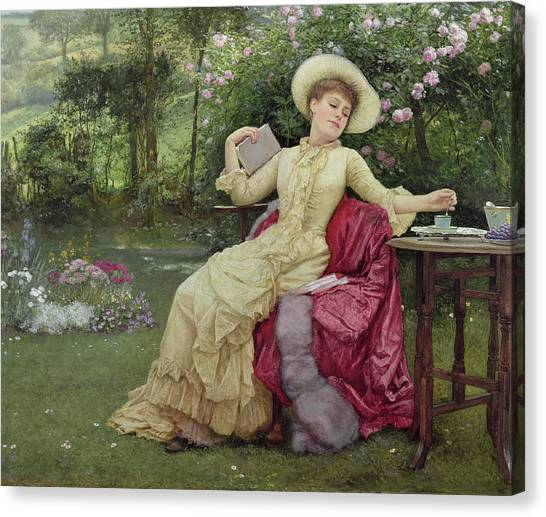 Victorian Garden Canvas Print - Drinking Coffee And Reading In The Garden by Edward Killingworth Johnson