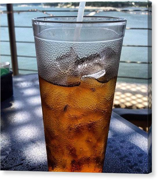 Iced Tea Canvas Print - #drink#tea#texas#lake#water#ice#cup by Reynaldo Soto