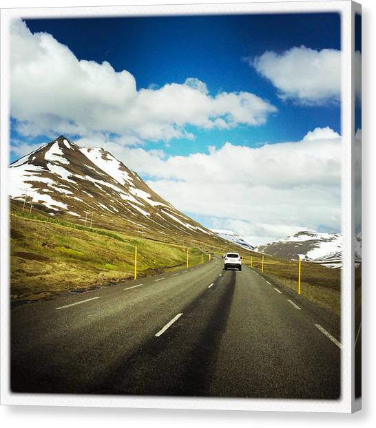 Trip Canvas Print - Driving In Iceland - Road And Mountain Landscape by Matthias Hauser
