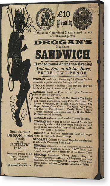 Sandwich Canvas Print - Drogan's Mayonaise Sandwich by British Library