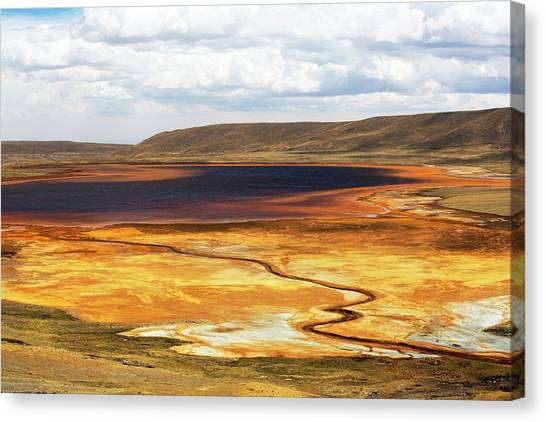 Bolivian Canvas Print - Drought At Laguna Miluni by Ashley Cooper/science Photo Library