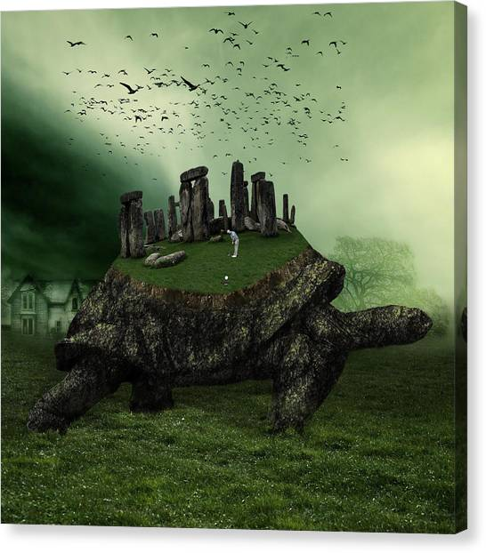 Turtles Canvas Print - Druid Golf by Marian Voicu
