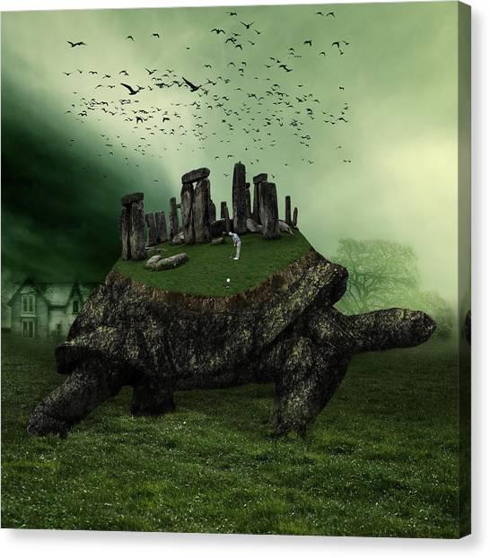 Turtle Canvas Print - Druid Golf by Marian Voicu
