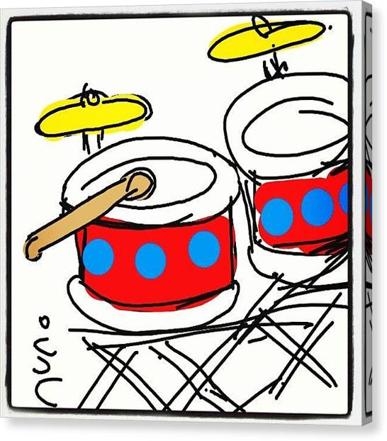 Percussion Instruments Canvas Print - #drum #cartoon #caricatures #sketch by Nuno Marques