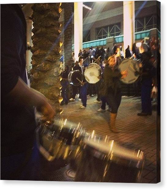 Snares Canvas Print - Drum Circle On The Way To #bourbon by Ellis Brewer