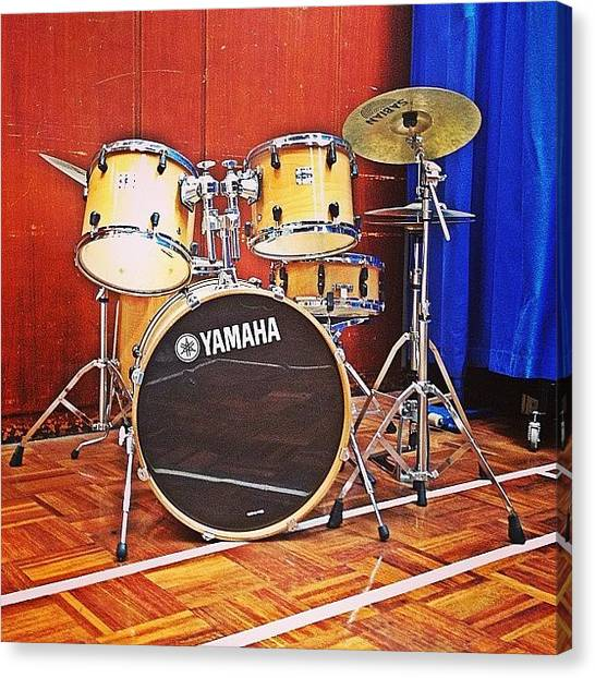 Percussion Instruments Canvas Print - #drum #kit In The School Hall. What's by Alex Nisbett