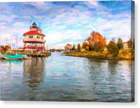 Drum Poiint Lighthouse Oil Abstract Canvas Print