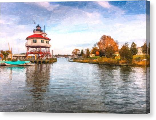 Drum Poiint Lighthouse Oil Painting Canvas Print