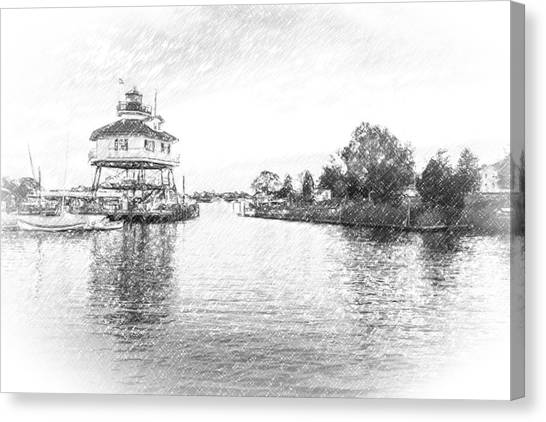 Drum Poiint Lighthouse Pencil Sketch Canvas Print