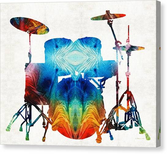 Percussion Instruments Canvas Print - Drum Set Art - Color Fusion Drums - By Sharon Cummings by Sharon Cummings
