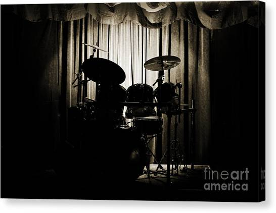 Drum Set On Stage Photograph Combo Jazz Sepia 3234.01 Canvas Print