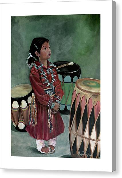 Drummer Girl Canvas Print
