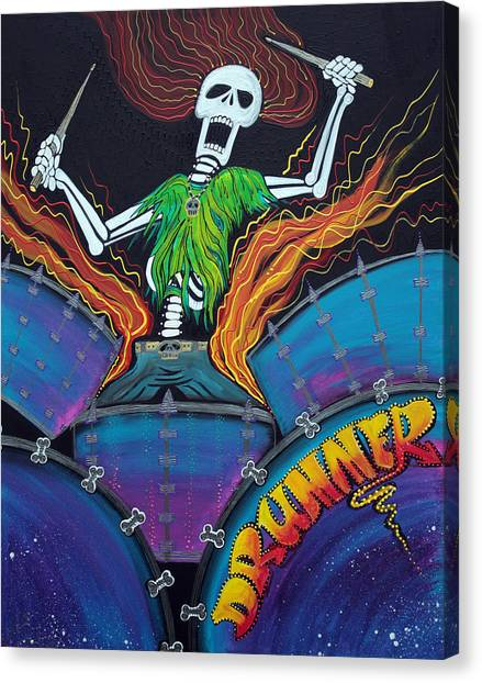 Drummer Of The Dead Canvas Print by Laura Barbosa