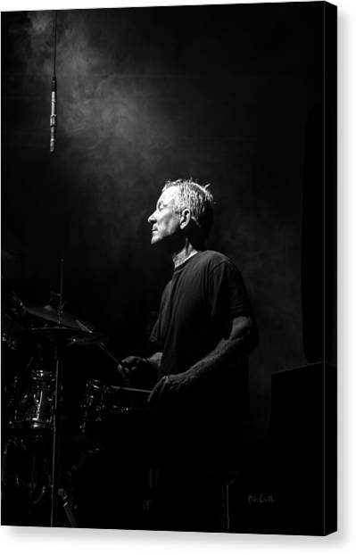 Drums Canvas Print - Drummer Portrait Of A Muscian by Bob Orsillo