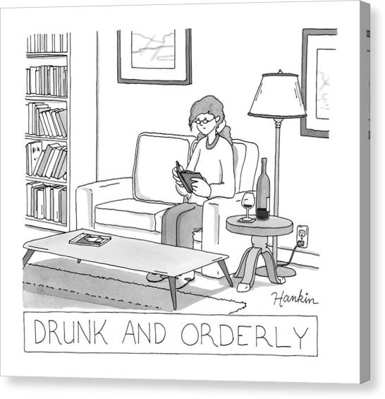 Drunk Canvas Print - Drunk And Orderly -- A Woman Reads A Book by Charlie Hankin
