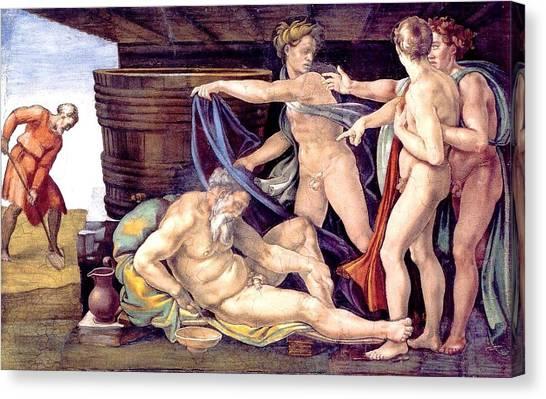 Michelangelo Simoni Canvas Print - Drunkenness Of Noah by Michelangelo Buonarroti