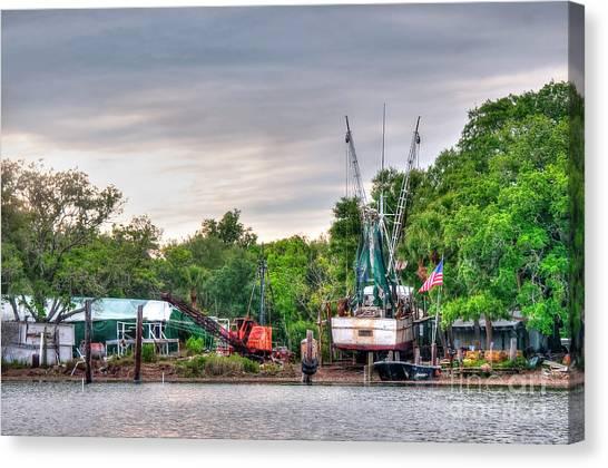 Dry Docked Shrimp Boat Canvas Print