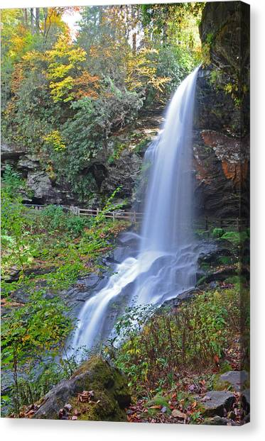 Dry Falls In Highlands Nc Canvas Print by Mary Anne Baker