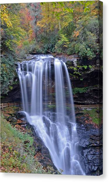 Dry Falls In Highlands North Carolina Canvas Print by Mary Anne Baker