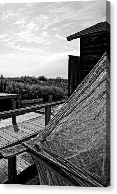 Smokehouses Canvas Print - Drying The Nets by Michelle Calkins
