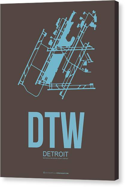 Detroit Canvas Print - Dtw Detroit Airport Poster 1 by Naxart Studio
