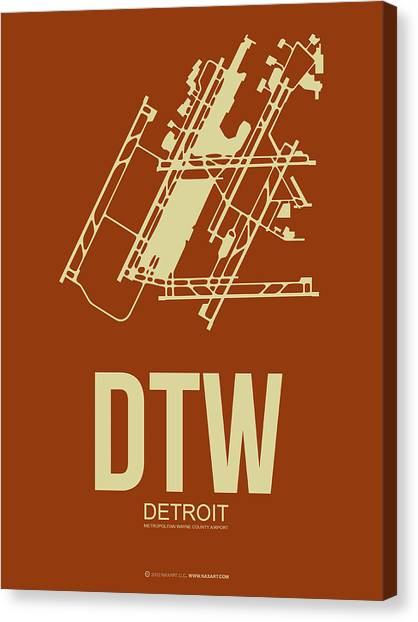Detroit Canvas Print - Dtw Detroit Airport Poster 2 by Naxart Studio