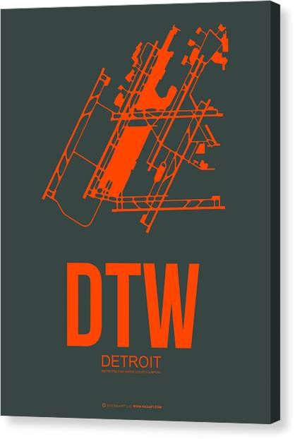 Detroit Canvas Print - Dtw Detroit Airport Poster 3 by Naxart Studio