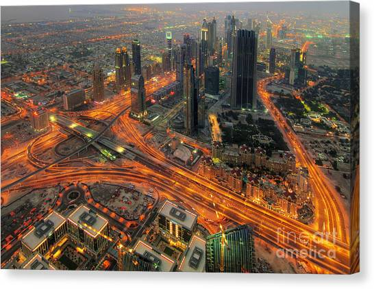 Dubai Skyline Canvas Print - Dubai Areal View At Night by Lars Ruecker