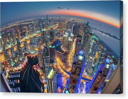 Modern Architecture Canvas Print - Dubai Colors Of Night by Sanjay Pradhan