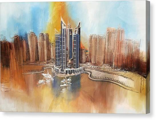 Dubai Skyline Canvas Print - Dubai Marina Complex by Corporate Art Task Force