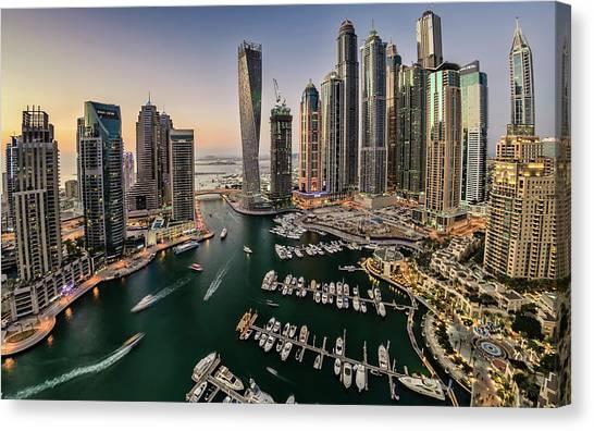 Dubai Marina In The Evening Canvas Print by © Naufal Mq