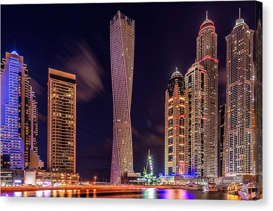 Dubai Skyline Canvas Print - Dubai Marina Night Shot by Vinaya Mohan