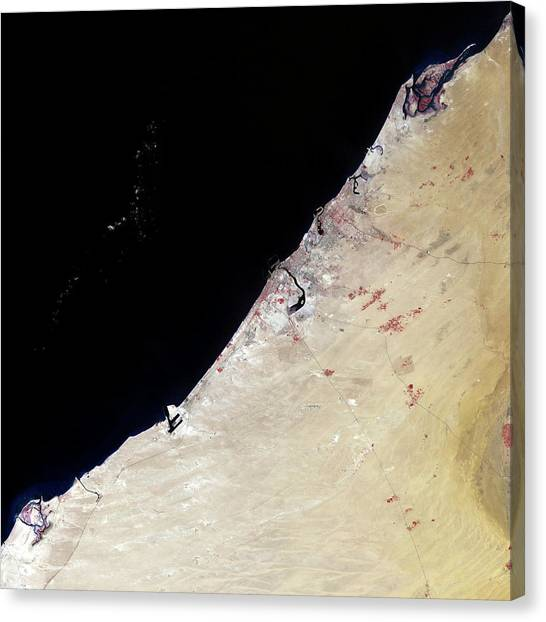 Arabian Desert Canvas Print - Dubai by Nasa/science Photo Library