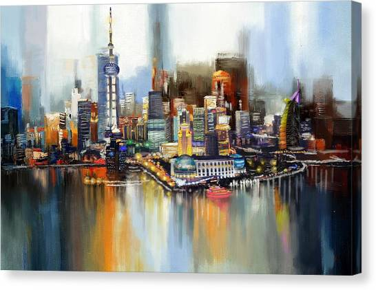 Dubai Skyline Canvas Print - Dubai Skyline  by Corporate Art Task Force