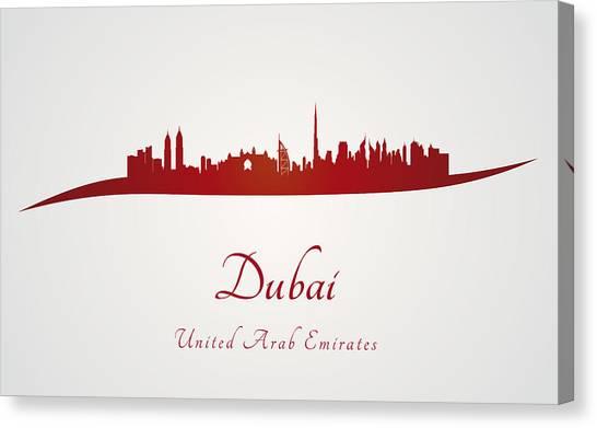 Dubai Skyline Canvas Print - Dubai Skyline In Red by Pablo Romero