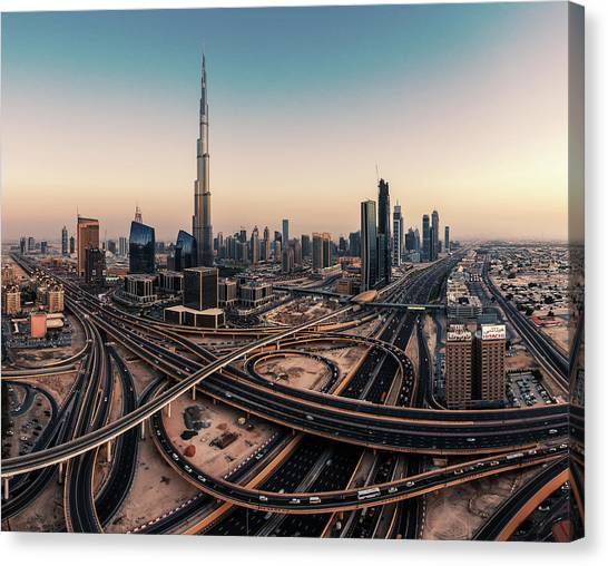Modern Architecture Canvas Print - Dubai Skyline Panorama by Jean Claude Castor