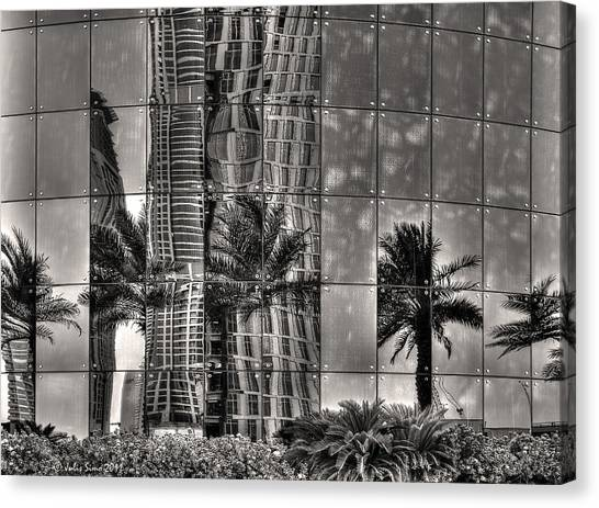 Dubai Street Reflections Canvas Print